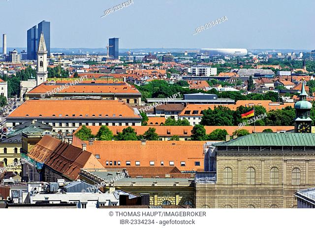 View over the roofs of Munich as seen from the steeple of the Church of St. Peter, Upper Bavaria, Bavaria, Germany, Europe