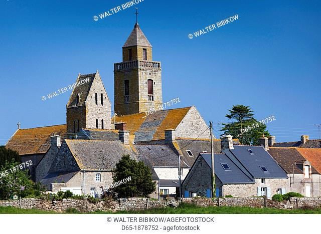 France, Normandy Region, Manche Department, Gatteville le Phare, town view