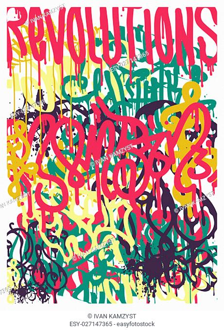 Vector fashion graffiti font. Revolutions Hand drawing retro style font texture, design elements in blue, pink, green, yellow
