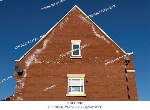 Brick wall of house showing signs of damp, UK