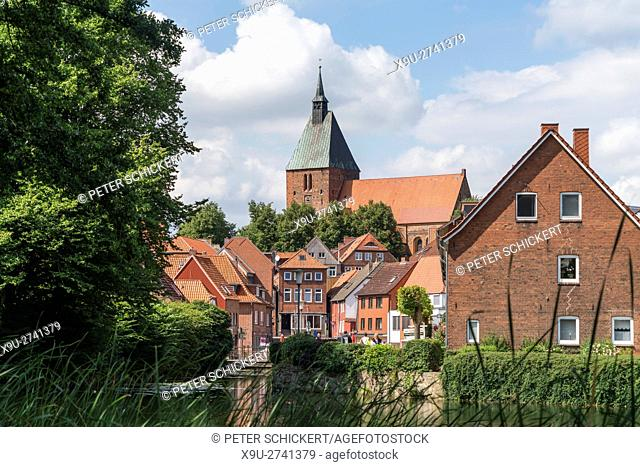 moat Wallgraben and St. Nicolai church in Moelln, Schleswig-Holstein, Germany, Europe