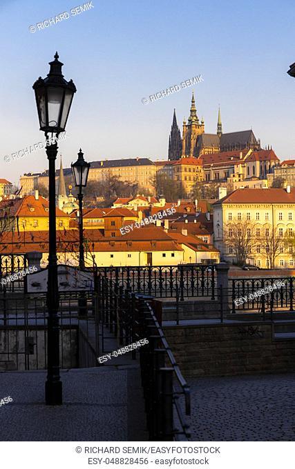 Panorama of Hradcany at sunrise, Czech Republic