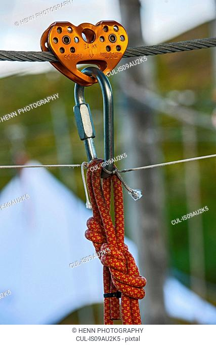 Pulley device and safety carabiners at high rope access course, Iceland