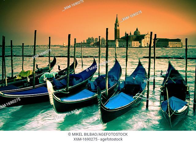Gondolas and San Giorgio Maggiore Island  St Mark's Square  Venice, Italy