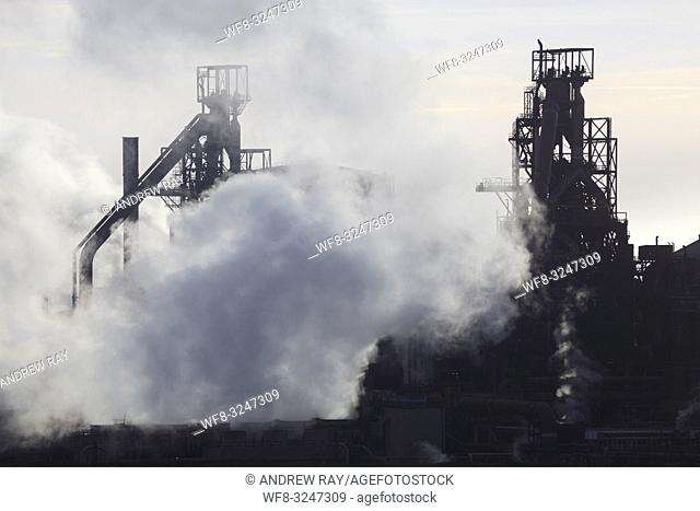 The Tata Steelworks at Port Talbot, in South Wales, captured from an inland section of the Wales Coast Path on an evening in mid February