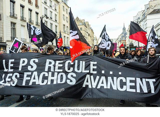 Paris, France, Act Up-Paris, AIDS Activists, Marching in Pro-Gay Marriage Demonstration, with Banners, and many LGBT Groups