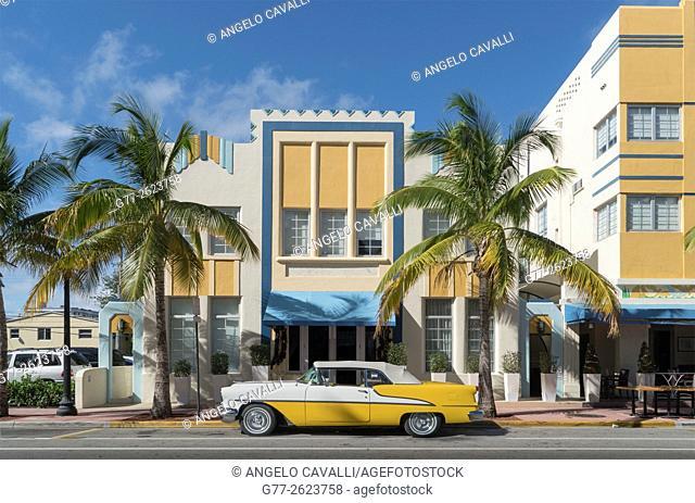 Ocean Drive in the Art Deco district. Miami Beach, Florida. USA