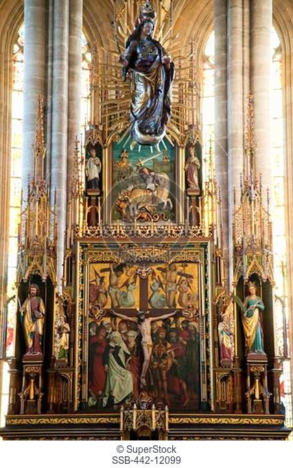 Interiors of a church, St. George's Church, Dinkelsbuhl, Bavaria, Germany
