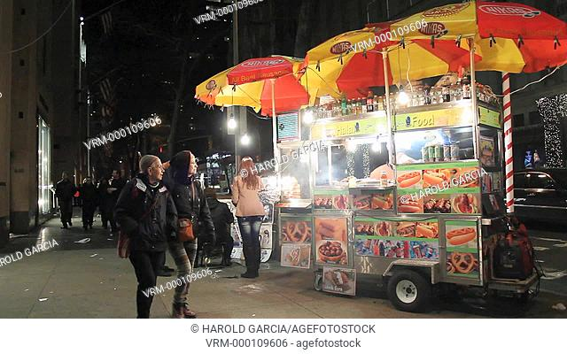 Hot dog vendor at fifth Avenue in New York City, USA