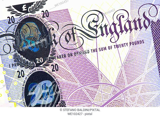 Twenty GBP british pound banknote
