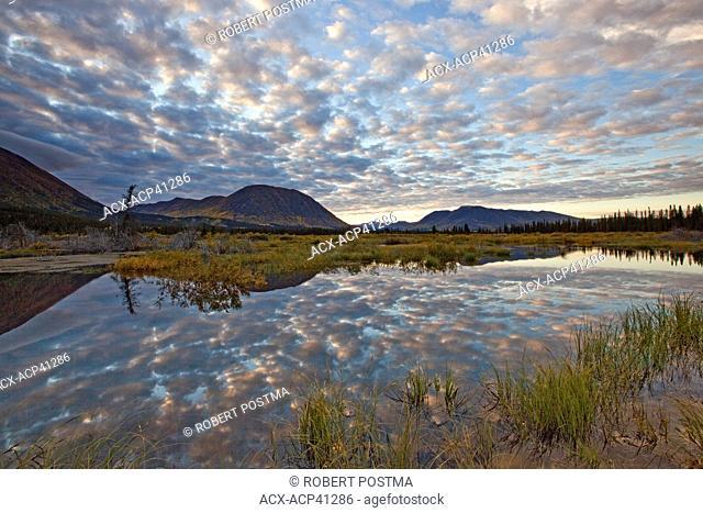 Sunset over unnamed pond, besie Annie Lake, Yukon, Canada
