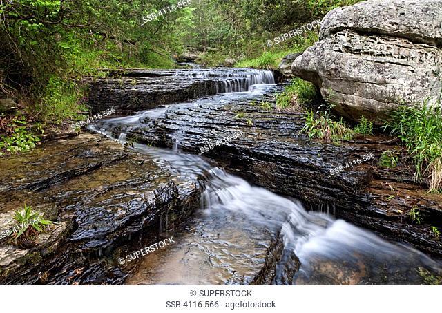 Stream cascading over shale rocks, Arkansas, USA