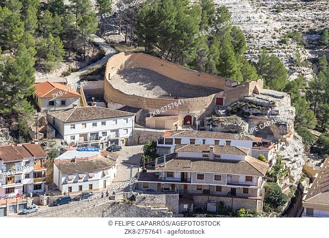 Ancient bullring, this square is constructed in the shape of ship and byline of the year 1902, next to the banks of the river Jucar, take in Alcala of the Jucar