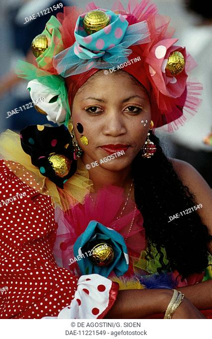 Woman wearing a carnival headdress and robes, Willemstad, Curacao, Netherlands Antilles