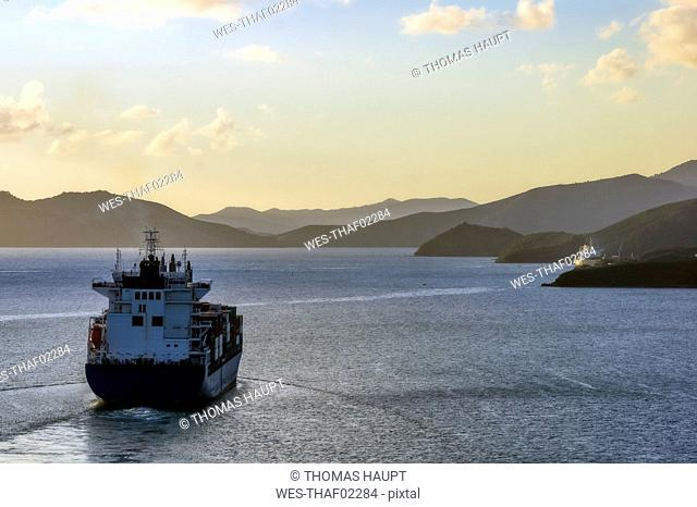 New Caledonia, Noumea, tanker ship in the evening