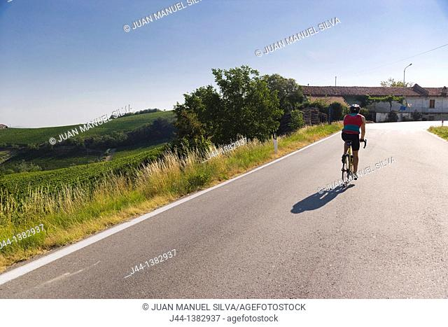 Man riding a bicycle on rural road, Piedmont, Italy