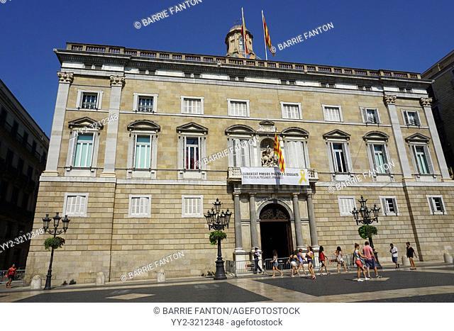 City Council of Barcelona, Ajuntament de Barcelona With Protest Banner, Barcelona, Spain