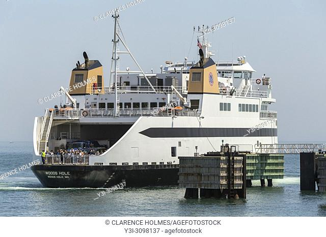 """Steamship Authority ferry """"""""MV Woods Hole"""""""" to Martha's Vineyard prepares to dock at the Oak Bluffs ferry terminal after arriving from the mainland"""