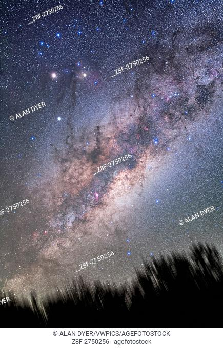 The centre of the Galaxy region in Sagittarius rising above the treetops, with the rich starfields of Scorpius and Sagittarius clearly visible despite the low...