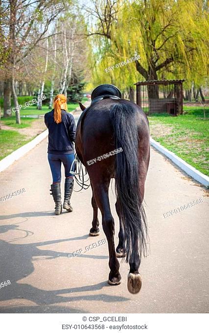 Young Beautiful Woman riding horse