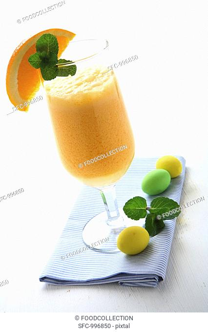Carrot and orange drink with yoghurt