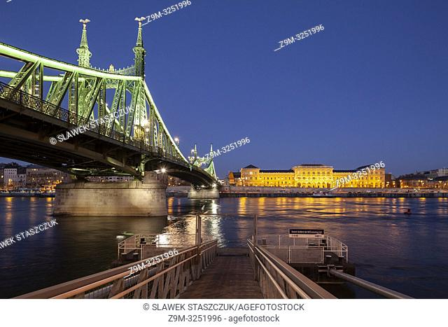 Evening at Freedom Bridge in Budapest, Hungary. Corvinus University building on the opposite bank of the Danube