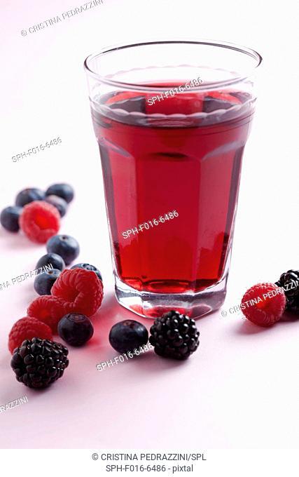 Fresh berry juice, studio shot