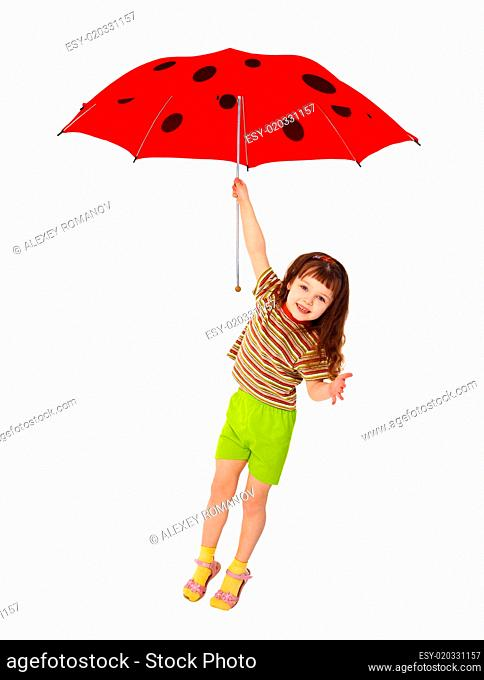 Little girl flying on red umbrella - ladybird