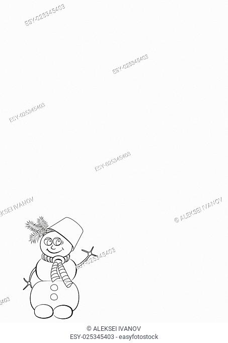 Colorless cheerful snowman with a bucket on his head