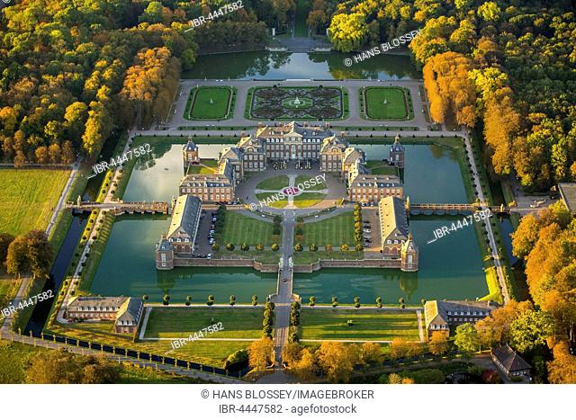 Baroque castle Schloss Nordkirchen in autumn, aerial, Nordkirchen, Muensterland, North Rhine-Westphalia, Germany