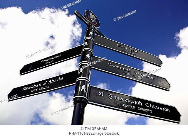 Bilingual road sign English and Scottish Gaelic directions, Stornoway, Outer Hebrides, UK