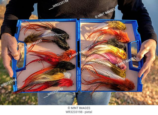 Gigantic fly fishing flies used fishing for Muskie in Wisconsin, USA