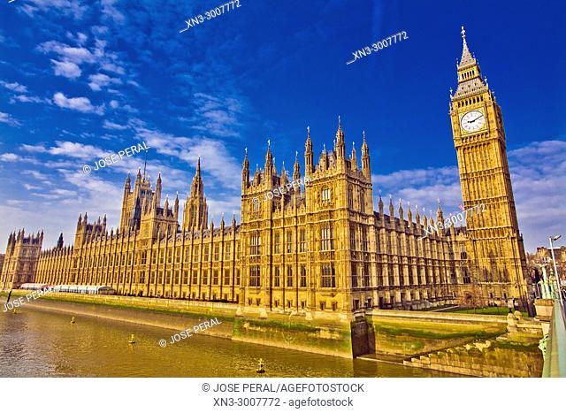Elizabeth Tower, Big Ben, Clock tower, Houses of Parliament, Palace of Westminster, from Westminster Bridge, River Thames, City of Westminster, London, England