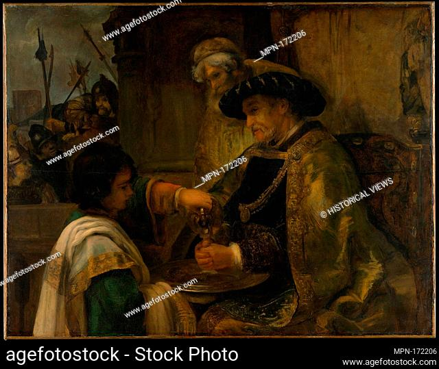Pilate Washing His Hands. Artist: Style of Rembrandt (Dutch, 17th century); Date: probably 1660s; Medium: Oil on canvas; Dimensions: 51 1/4 x 65 3/4 in