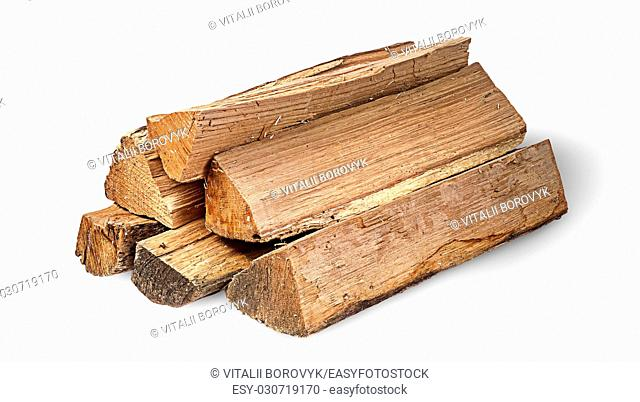 Pile of firewood rotated isolated on white background