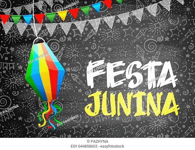Festa Junina Brazil holiday design with traditional decorations and festive pattern on chalkboard. Vector illustration