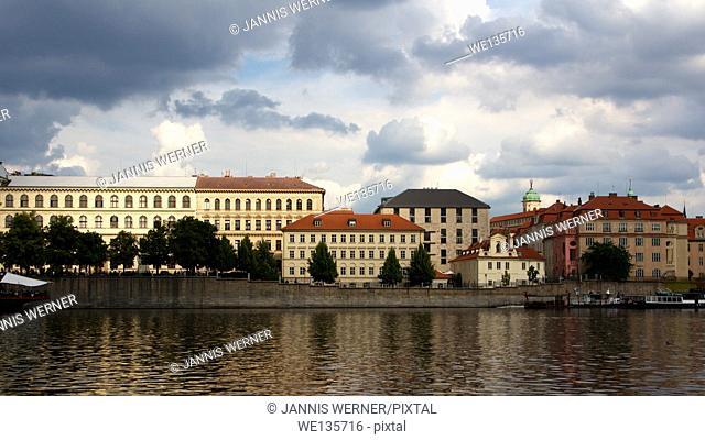 Historic buildings on the Vltava river in Prague, Czech Republic