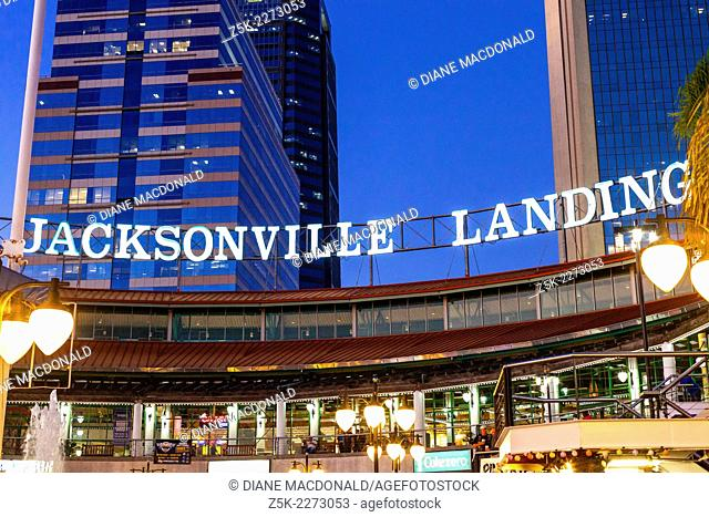 Jacksonville Landing , Jacksonville, Florida, USA at dusk. The Jacksonville Landing is a complex of stores, restaurants and nightclubs in downtown Jacksonville...