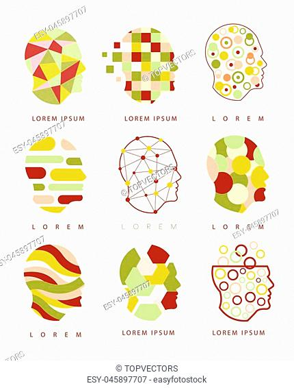 Thinking Inside Human Head Different Geometric Abstract Design Icons. Head Shape Filled With Patterns As Creative Thinking Symbol