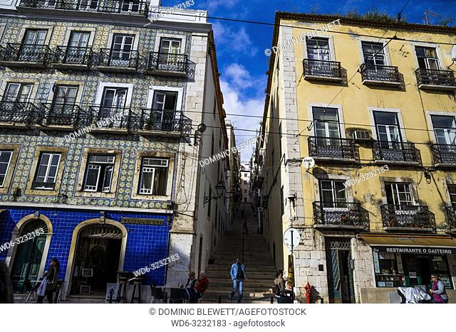 Buildings in the Bairro Alto area of Lisbon, Portugal