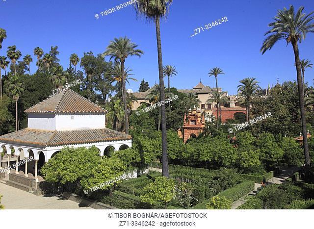 Spain; Andalusia; Seville; Real Alcazar, moorish royal palace, garden;