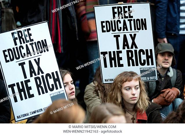"""Protest by students against tuition fees. The demonstration was organised in conjunction with """"""""National Campaign Against Fees and Cuts"""""""" (NCAFC) London"""