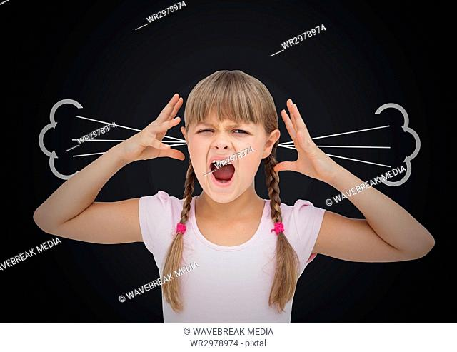 anger girl with steam on ears. Black background