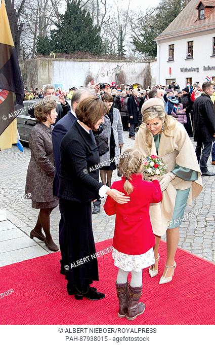 King Willem-Alexander and Queen Máxima of the Netherlands visits Wittenberg, on February 9, 2017, for a walk by the publis and a diner with minister-president...