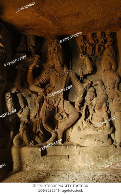 Cave 21, Lord Shiva in a tandav pose, sculpture, Ellora Caves, Aurangabad, Maharashtra