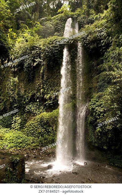 Waterfalls of Air Terjun Singang Gila, north of Lombok and near the town of Senaru. Benang Kelambu Waterfalls in tropical forest near the village Aik Berik