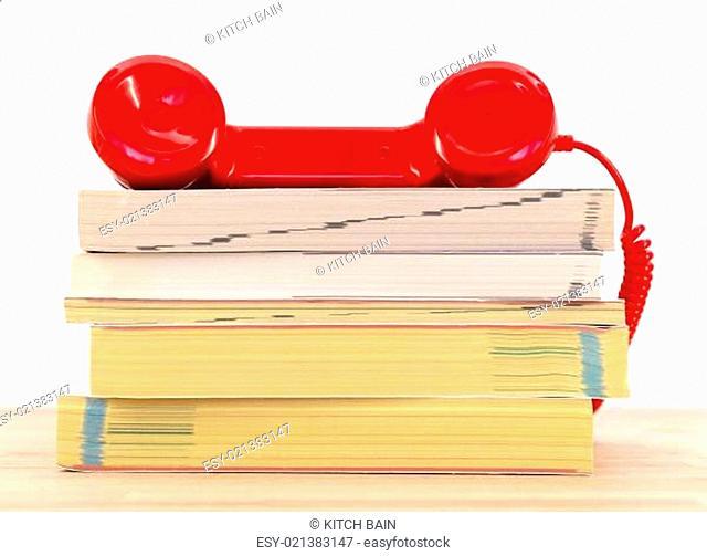 A close up shot of telephone books