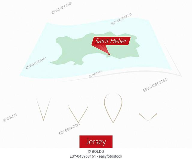 Curved paper map of Jersey with capital Saint Helier on Gray Background. Four different Map pin set. Vector Illustration