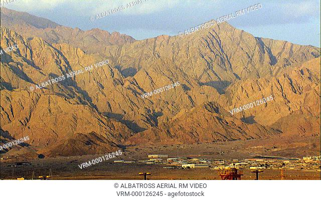 Aerial footage of Jordan Mountains as seen from Eilat