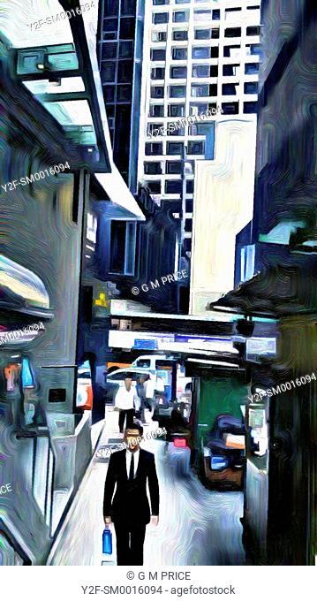 paintbrush filter of downtown Hong Kong lane high rise buildings